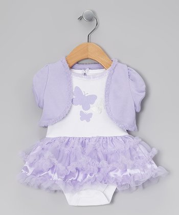 White & Purple Butterflies Skirted Bodysuit & Shrug