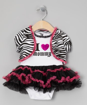 White & Fuchsia 'I Love Mommy' Skirted Bodysuit & Shrug