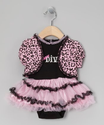 Black & Pink 'Diaper Diva' Skirted Bodysuit & Shrug