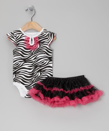 White & Fuchsia Zebra Bodysuit & Skirt - Infant