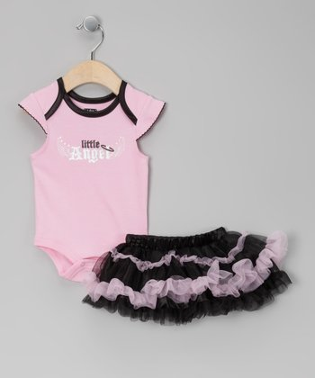 Black & Pink 'Little Angel' Bodysuit & Skirt