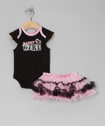 Black & Pink 'Daddy's Girl' Bodysuit & Skirt