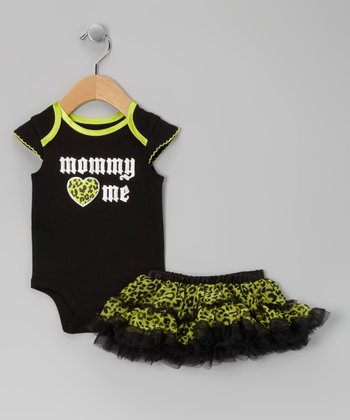 Lime & Black 'Mommy Loves Me' Bodysuit & Skirt