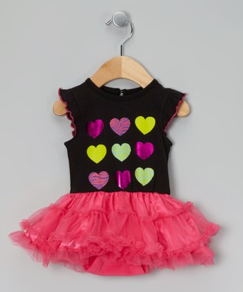Black & Fuchsia Heart Skirted Bodysuit