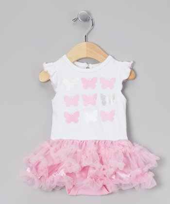 White & Pink Butterflies Skirted Bodysuit