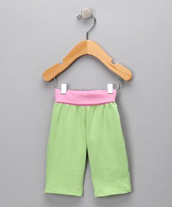 Green & Pink Tulip Organic Pants - Infant