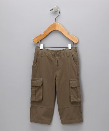 Dark Khaki Organic Cargo Pants - Infant, Toddler and Kids