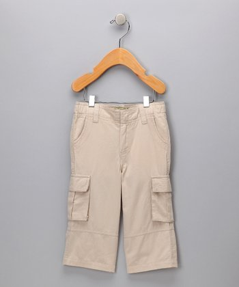 Light Khaki Organic Cargo Pants - Kids