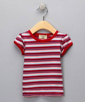 Red Organic Puff-Sleeve Tee - Infant & Girls
