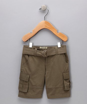 Dark Khaki Organic Cargo Shorts - Infant, Toddler & Boys