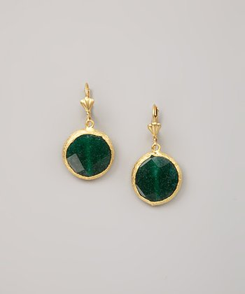 Green Calcite Faceted Round Drop Earrings