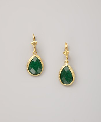 Green Calcite Teardrop Earrings