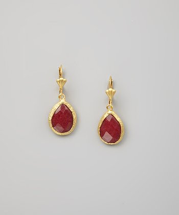 Carnelian Faceted Teardrop Earrings