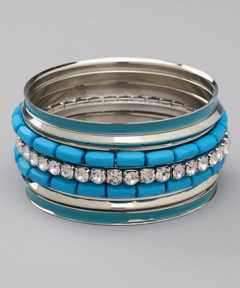 Blue & Silver Bangle Set
