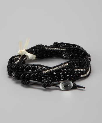 Black Leather Bead Wrap Bracelet