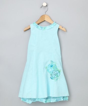 Blue Rose Appliqué Dress - Toddler & Girls