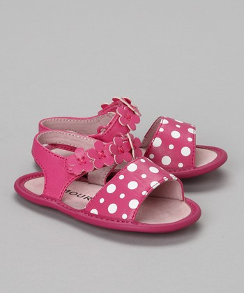 Fuchsia Polka Dot Sandal - Infant