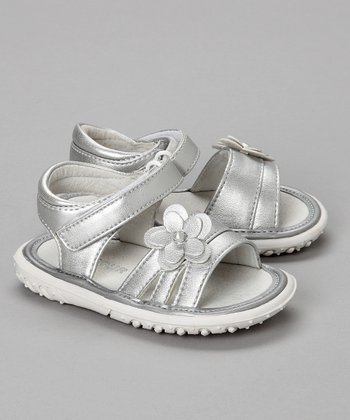 Silver Flower Sandal - Toddler & Girls