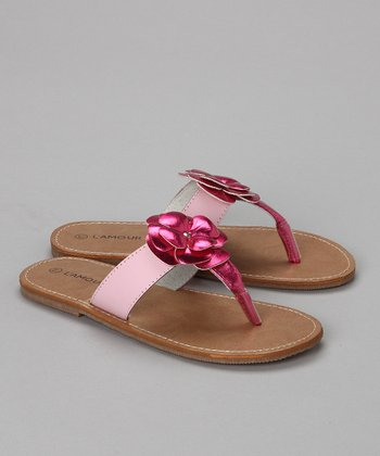 Fuchsia Metallic Flip-Flop - Toddler & Girls