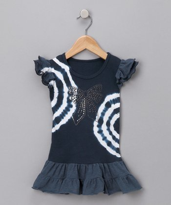 Navy Tie-Dye Drop-Waist Dress - Infant & Toddler