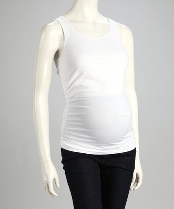 White Seamless Ruched Maternity Tank