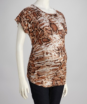 Mom & Co. Brown Snakeskin Banded Maternity Top - Women