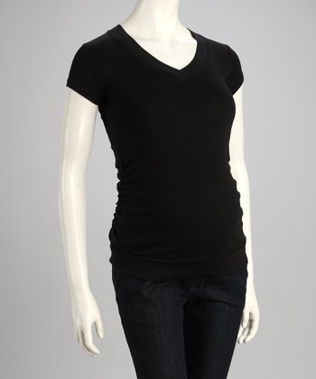 Black Ruched Maternity V-Neck Tee