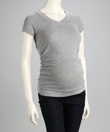 Gray V-Neck Maternity Top