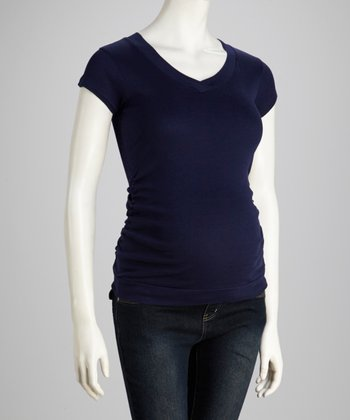 Navy Ruched V-Neck Maternity Tee - Women