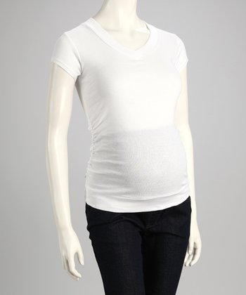 Mom & Co. White V-Neck Maternity Top