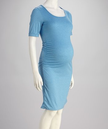 Blue Ruched Maternity Dress - Women