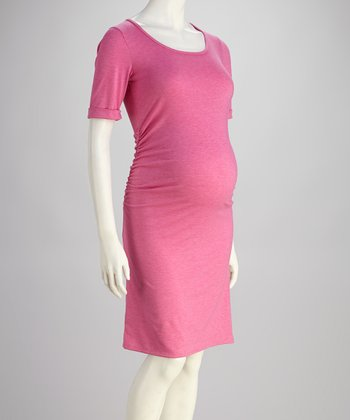 Pink Ruched Maternity Dress