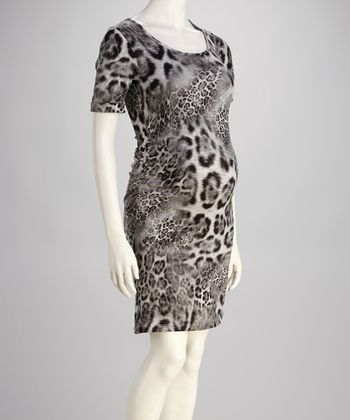 Mom & Co. Black & White Leopard Ruched Maternity Dress - Women