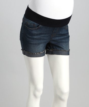 Dark Wash Denim Maternity Shorts
