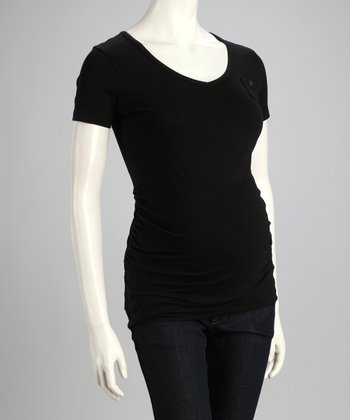 Black Mini Pocket Maternity Top