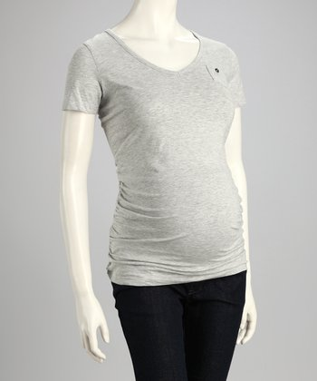 Gray Mini Pocket Maternity Top