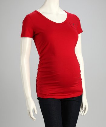 Red Mini Pocket Maternity Top