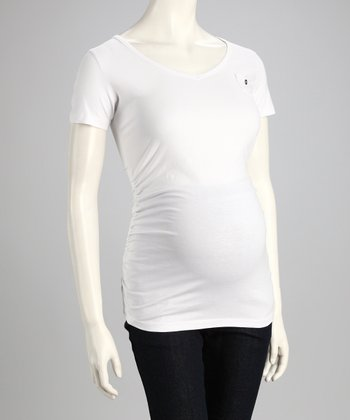 White Mini Pocket Maternity Top