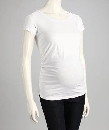White Scoop Neck Maternity Top