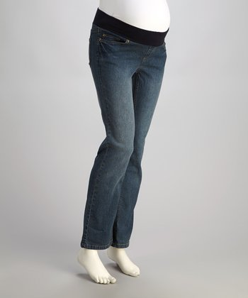 Medium Wash Under-Belly Maternity Jeans - Women