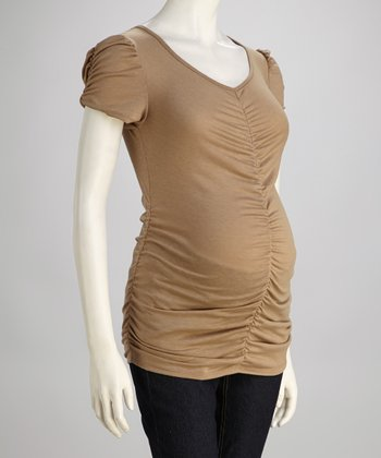 Mocha Ruched Maternity Top - Women