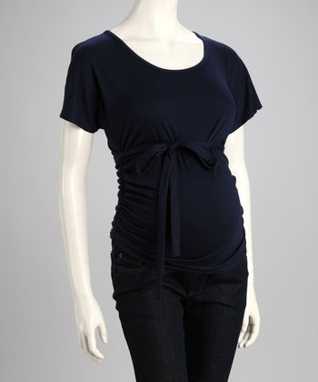 Navy Tie-Front Maternity Top
