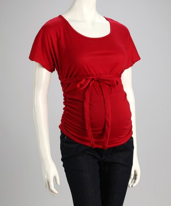 Red Tie-Front Maternity Top