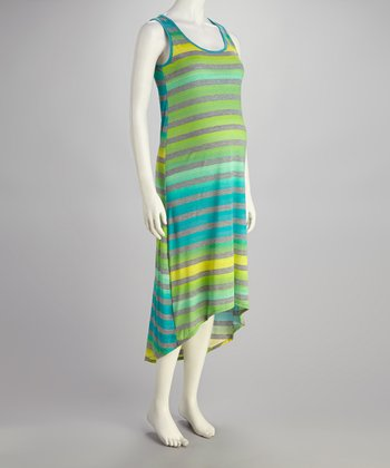 Green & Yellow Stripe Maternity Hi-Low Dress