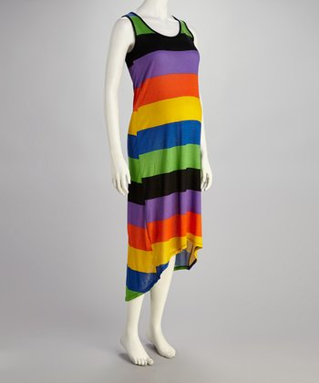 Rainbow Stripe Maternity Hi-Low Dress