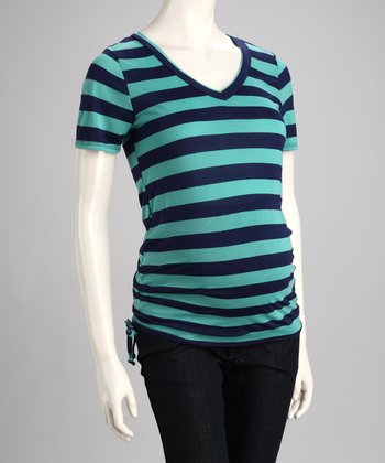 Green & Navy Wide Stripe Maternity Top