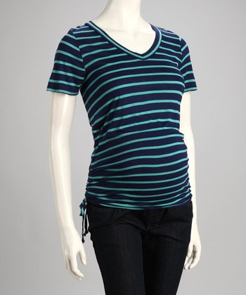 Navy & Green Narrow Stripe Maternity Top