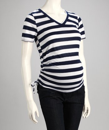 Navy & White Stripe Maternity Top