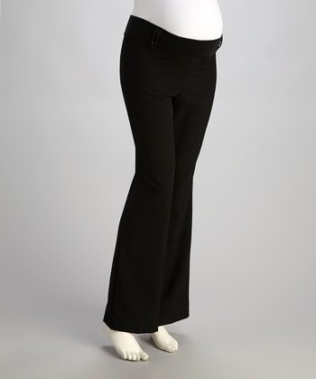 Black Mid-Belly Maternity Bootcut Pants - Women