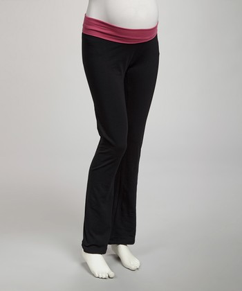 Black & Fuchsia Under-Belly Maternity Yoga Pants